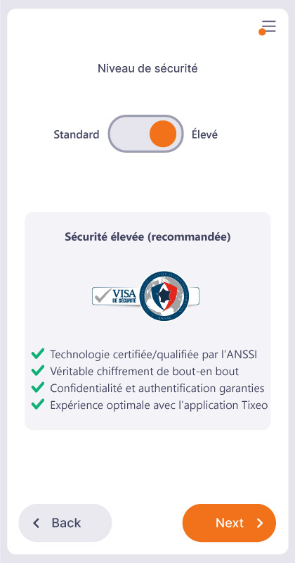 Security levels and access to Tixeo meetings: overview.