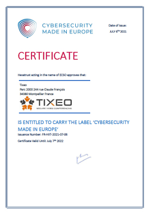 """Label Made in Europe Tixeo - Tixeo labellisé """"Cybersecurity Made in Europe"""""""